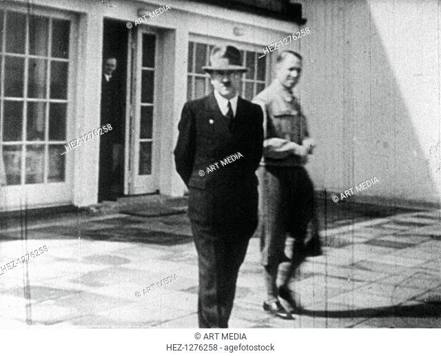Adolf Hitler on the terrace of the Berghof, Berchtesgaden, Bavaria, Germany, c1936-1945. Hitler acquired the Berghof, his retreat in the Bavarian Alps