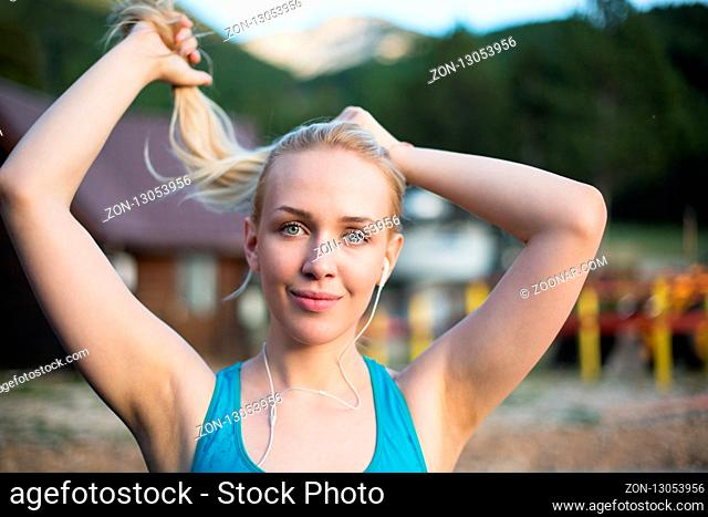 Running woman. Female Runner Jogging during Outdoor Workout in a Park. Beautiful fit Girl. Fitness model outdoors. Weight Loss. Healthy lifestyle