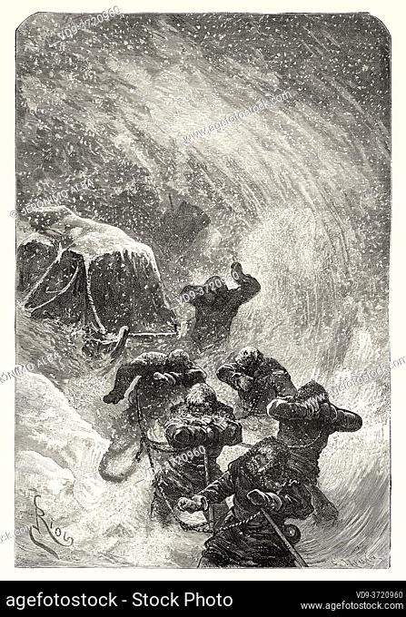Members of the North Polar Expedition, caught in a snowstorm. Old 19th century engraved illustration. Second German North Polar Expedition in 1869 from El Mundo...