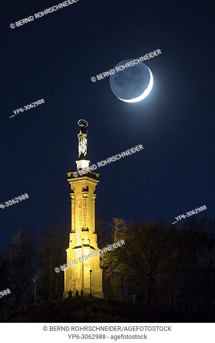 St. Maryâ. . s column and moon at night, Trier, Rhineland-Palatinate, Germany