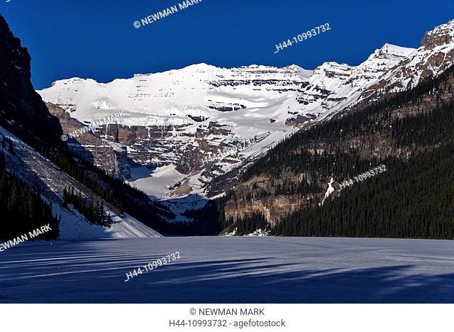 lake louise, Banff, national park, alberta, canada, lake, mountains, landscape, frozen