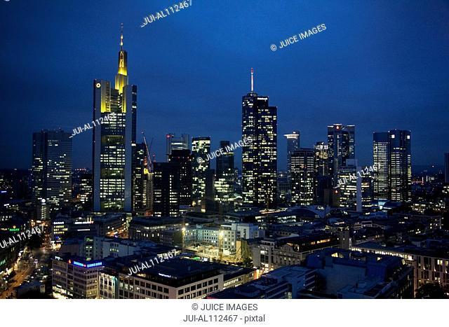 Skyline of Frankfurt, Financial District at night, Aerial View, Frankfurt, Hesse, Germany