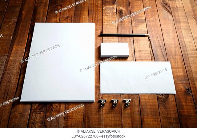 Blank stationery set. Blank corporate identity template. ID template. Mock-up for branding identity for designers. Top view