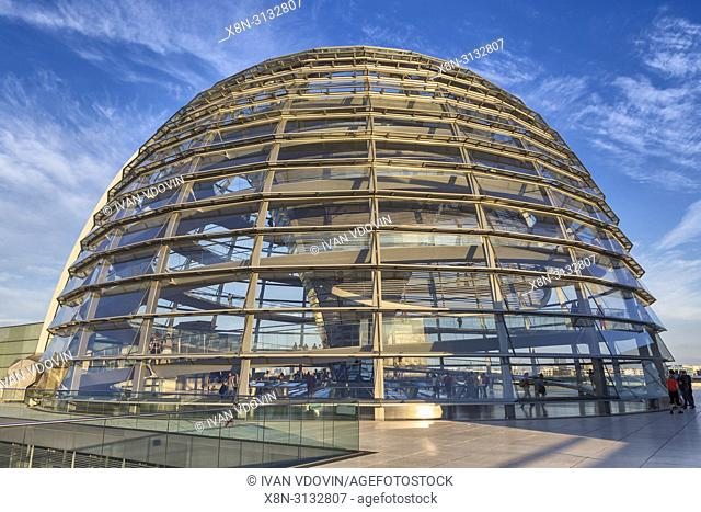 Glass dome of Reichstag building, Berlin, Germany