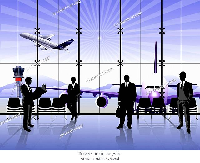 Businessmen waiting at an airport lounge, illustration