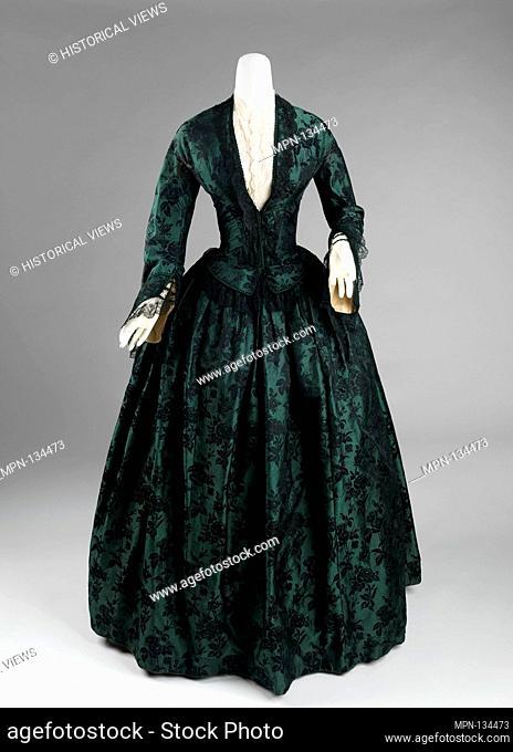 Evening dress. Date: 1850-55; Culture: American; Medium: silk; Credit Line: Brooklyn Museum Costume Collection at the museum, Gift of the Brooklyn Museum