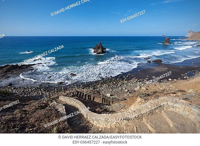 Scenic Benijo beach in north Tenerife Island, Canary islands, Spain