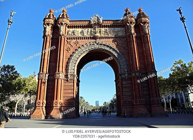 The Arc de Triomphe is a monument at the junction between the Paseo de Lluís Companys, Paseo de San Juan and San Pedro Round, in the city of Barcelona