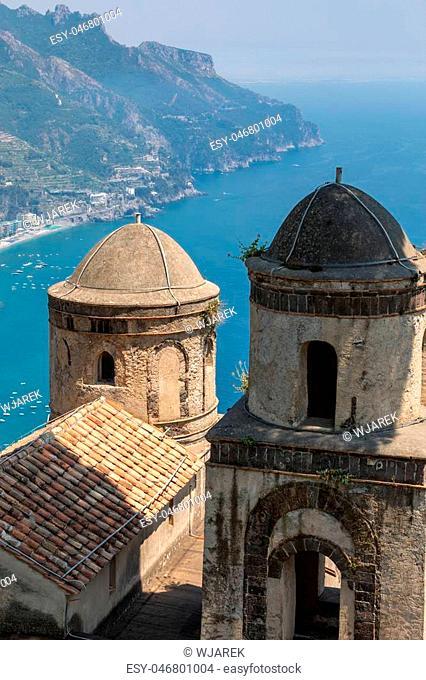 View over Gulf of Salerno from Villa Rufolo, Ravello, Campania, Italy