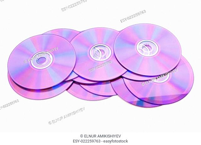 Many DVD's isolated on the white background