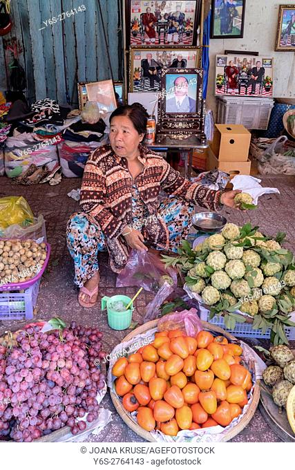 fruit and vegetable stall on a local market in Vinh Long, Mekong Delta, Vietnam, Asia