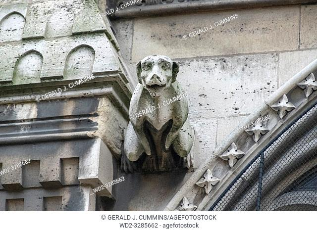The famous gargoyles of Notre Dame de Paris, a gothic architectural feature used to divert rain water from the roof and convey it away from the buildingâ