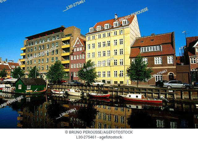 Christianshavn, a canal in the centre of Copenhagen. Denmark