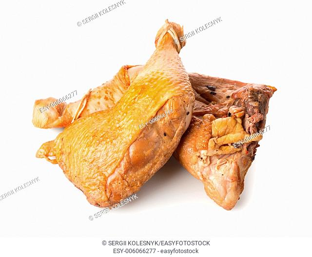 Cooked chicken legs isolated on a white background