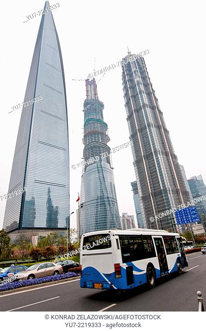 famous skyscrapers - Shanghai World Financial Center, Shanghai Tower and Jin Mao Tower in Lujiazui Finance and Trade Zone in Pudong District