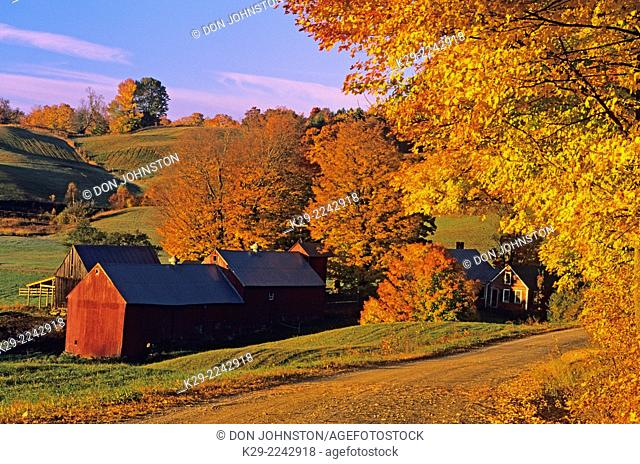 Jenne Farm in late autumn at dawn, South Woodstock, Vermont, USA