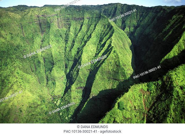 Hawaii, Kauai, Mt. Waialeale, Lush aerial view of mountain ridges