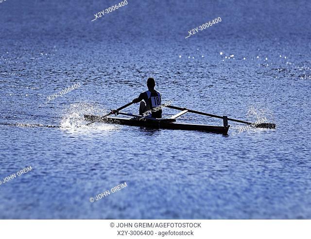 Competative rower on the Charles River, Cambridge, Massachusetts, USA