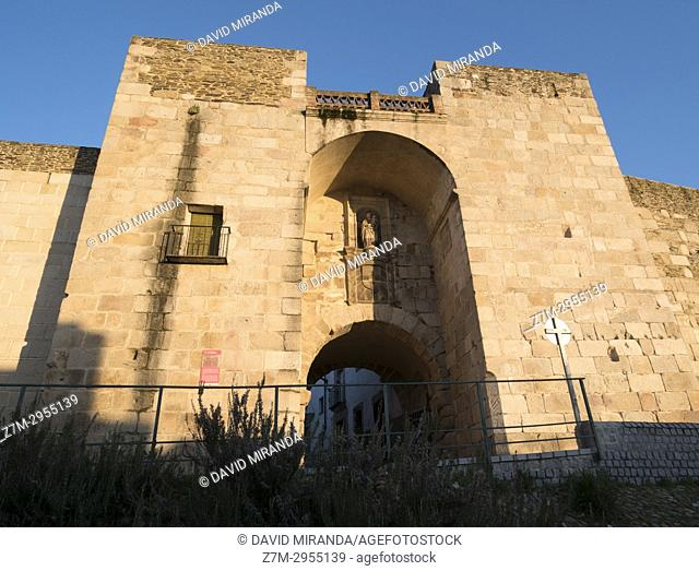 Gate and roman wall. Coria. Cáceres. Extremadura. Spain