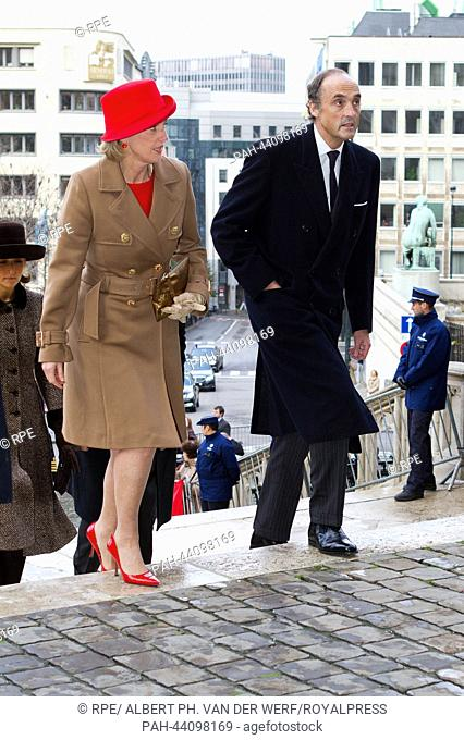 Belgium Princess Astrid and Archduke Lorenz of Austria arrive at the Cathedral of St. Michael and St. Gudula on the occasion of the King's Day in Brussels