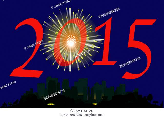 A single firework burst over a city with the inscription 2015. The first rocket of the evening