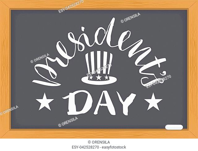 President's Day white text on chalkboard. Washington's Birthday. Vector cartoon illustration