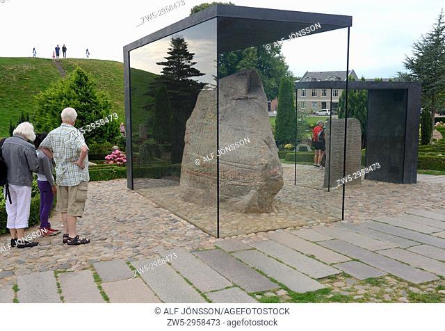 The Jelling stones at Jelling church, birtplace of Christianity in Denmark, Jelling, Jutland, Denmark