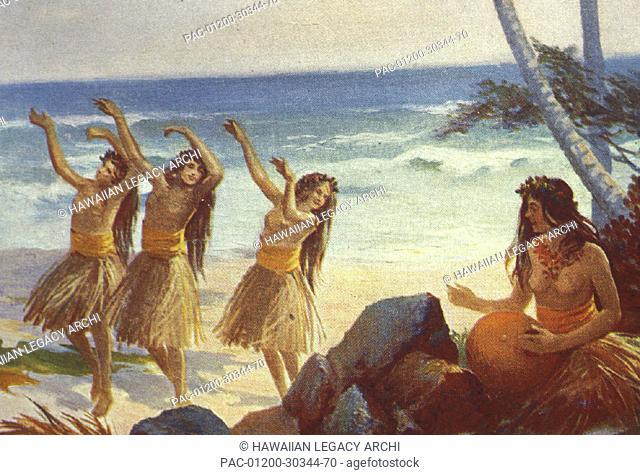 c.1923 Art, Three hula girls on the beach with woman playing ipu, topless