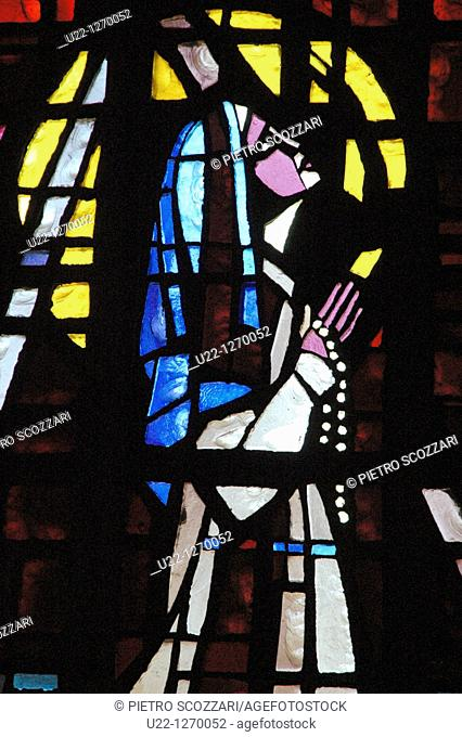 Casablanca (Morocco): colored window inside the Cathedral