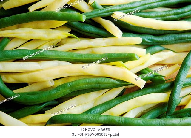 Cooked Green and Yellow String Beans, Close-Up