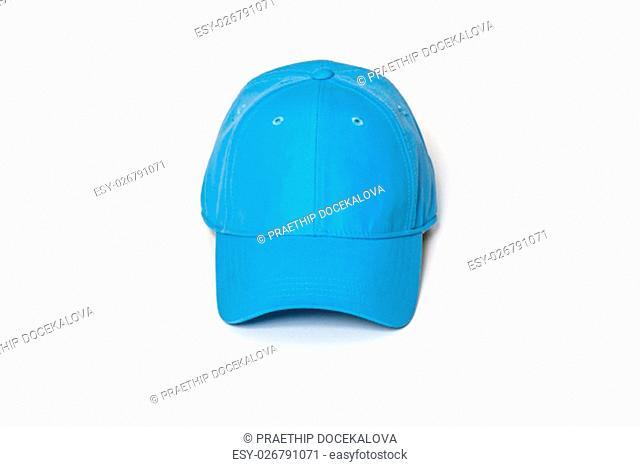 Light blue adult golf or baseball cap on white background