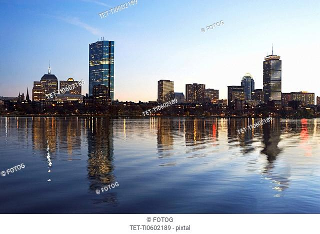USA, Massachusetts, Boston skyline at dusk