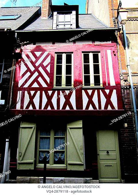 typical half timber house of Normandy. Honfleur, Calvados Department, Basse-Normandie Region, France, Europe.