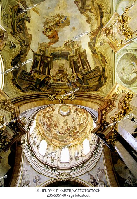 Baroque pulpit Church of St Nicholas Mala Strana in Prague, Czech Republic