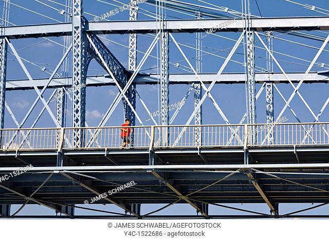 John A  Roebling Suspension Bridge over the Ohio River with Cincinnati Ohio across the river