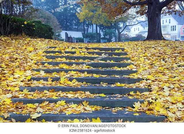 The Camden Village Green in Camden, Maine during the autumn months