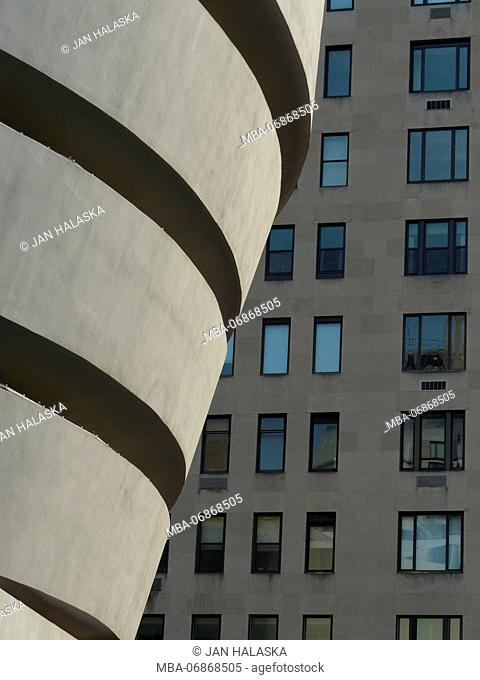Guggenheim Museum designed by Architect Frank Lloyd Wright is located on Fifth Avenue and 89th Street