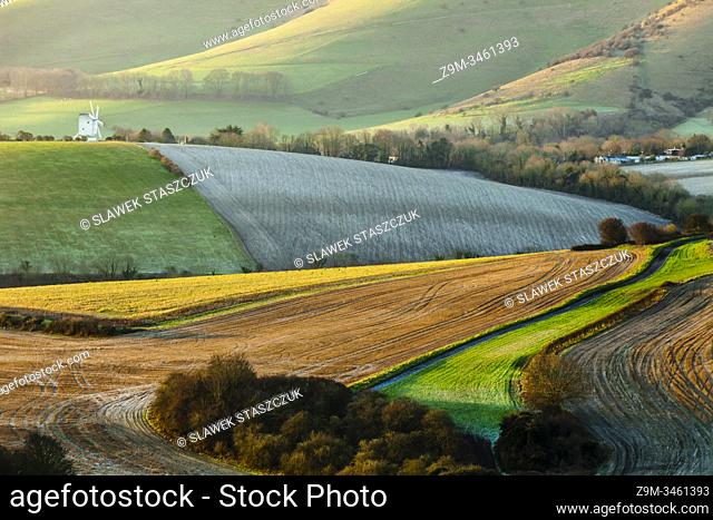 Winter morning in South Downs National Park, East Sussex, England