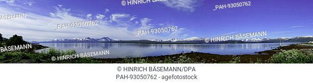 fjordsummer in northern Norway panorama, july 2017 | usage worldwide. - Tromsö/Troms/Norway