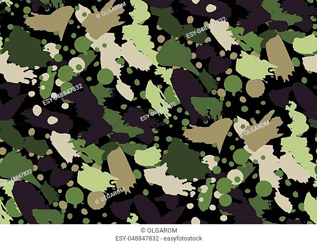 Camouflage seamless pattern in a shades of green, brown, beige colors. Vector illustration