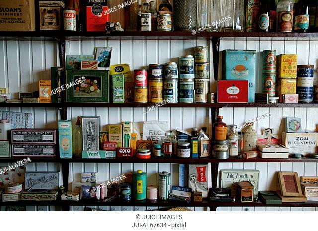 Store shelves, Museum in Port Stanley, Falkland Islands
