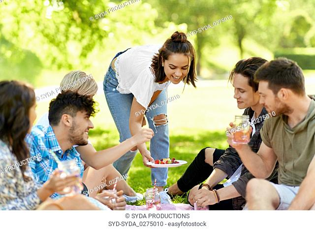 friends with drinks and food at picnic in park