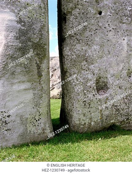 Stonehenge, Amesbury, Wiltshire, 2000. Looking between stones 53 and 54, the two massive uprights of a trilithon in the central Sarsen horseshoe