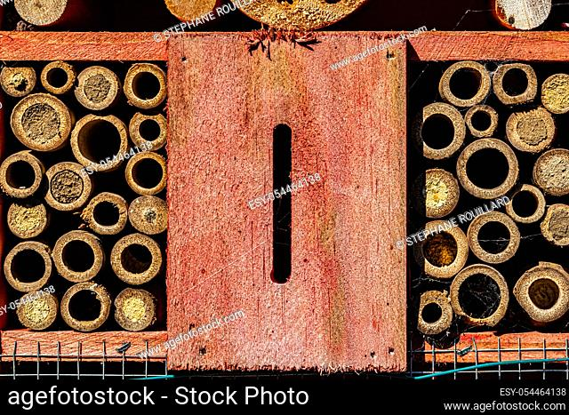 Insect hotel seen up close, macro