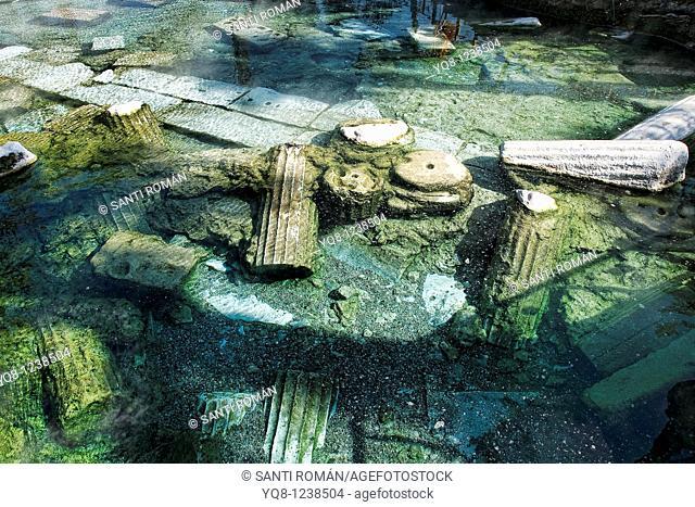 Ancient pool, hot spring, pamukkale, turkey