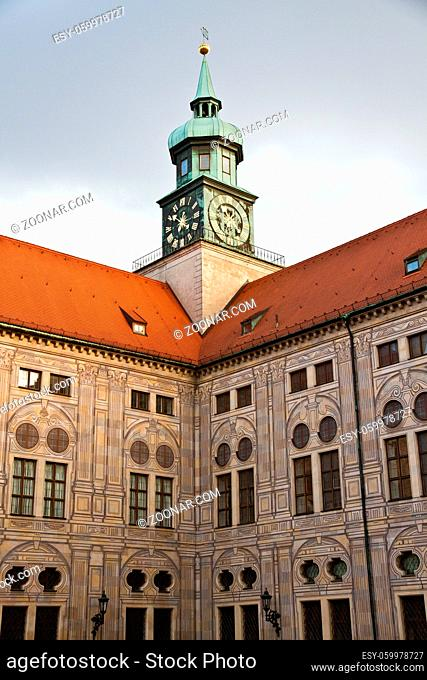 Munich, Residenz royal palace of the Bavarian kings: view of the Festival Hall Building from the Court Garden in Renaissance baroque style