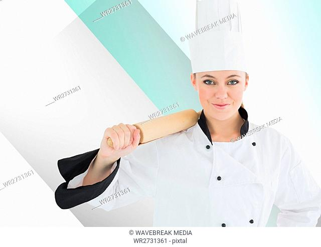Chef standing with rolling pin against white green background