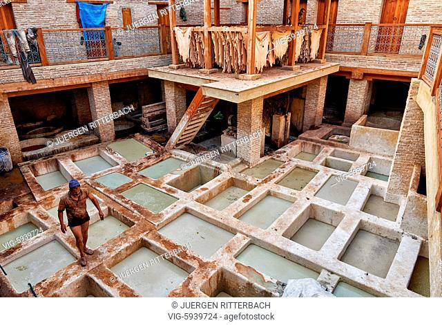MOROCCO, FEZ, 23.05.2016, refurbished traditional leather tannery in Old Fez, Morocco, Africa - Fez, Morocco, 23/05/2016