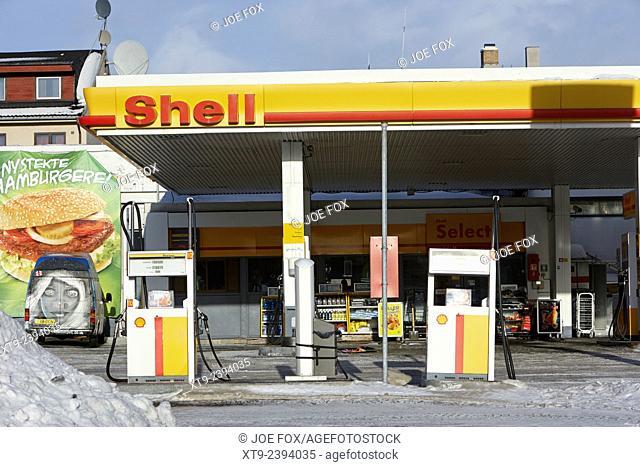 shell petrol station kirkenes finnmark norway europe
