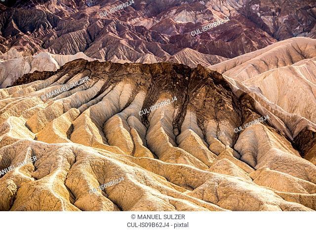 Zabriskie Point rock formation landscape in Death Valley National Park, California, USA